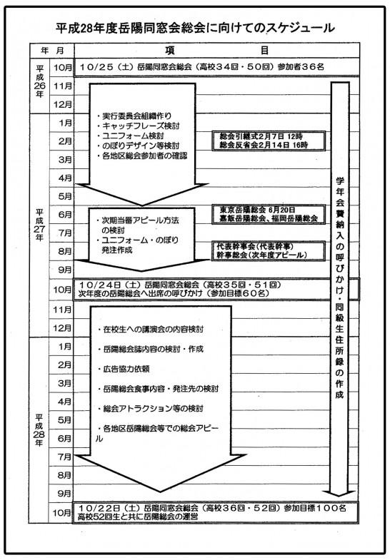 28年度岳陽同窓会総会に向けてのスケジュール