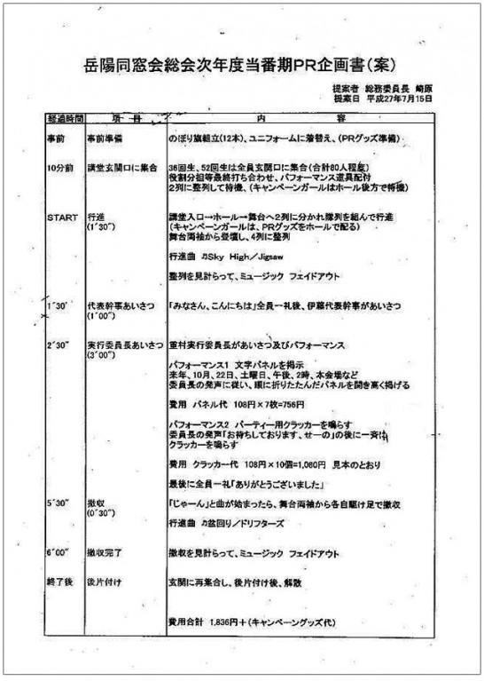 田川高校36回生総会アピール企画書