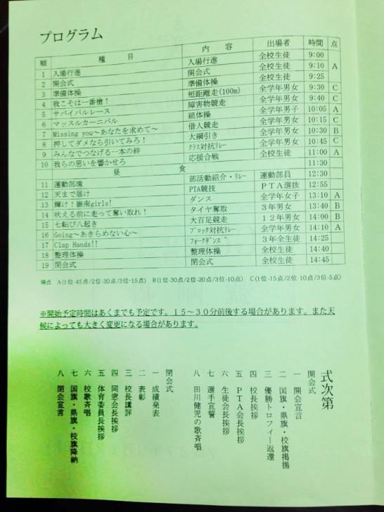 田川高校体育大会-プログラム