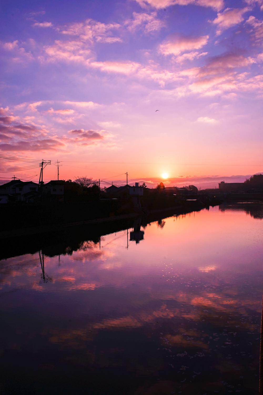 彦山川からの日の出